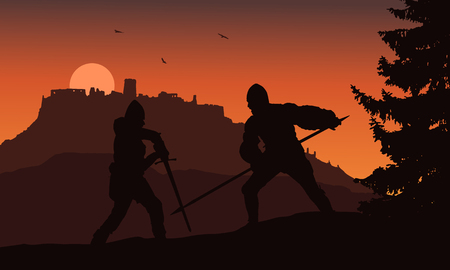 Vector silhouettes of two warriors fighting in a forest under the ruins of a medieval castle - Slovakia, Spis castle