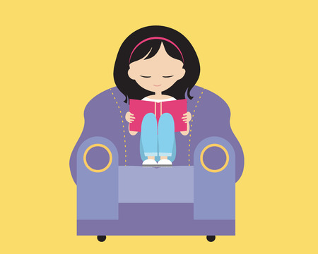 A cute young girl with brown hair sitting in a purple chair, holding her hands and reading a book in a room with a yellow background - vector