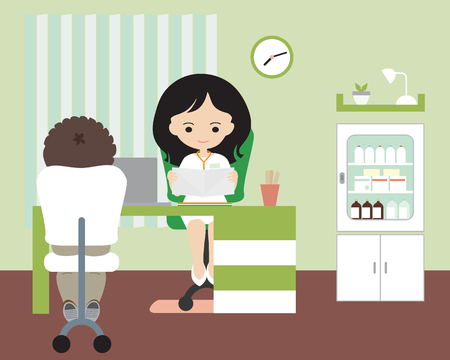 Young woman - doctor sitting in office or surgery on chair at laptop table on patient card and talking with young boy, green wall, medicine cabinet and clock on background- vector