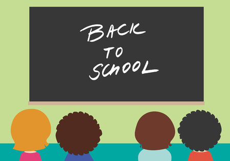 Four children in school class with black board with the inscription Back to school on green wall - vector