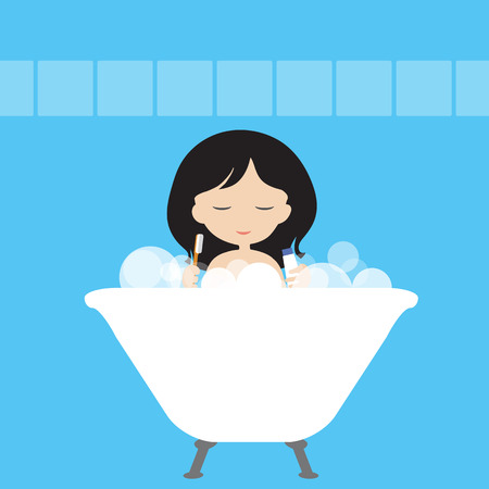 Young woman or girl is washing in a white bath with foam and cleanses her teeth with a toothbrush and a paste in a blue bathroom - vector