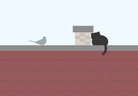 Black cat sitting on the roof and lurking on a pigeon, with blue sky background, with space for text - vector Illustration
