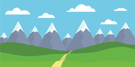 Mountain landscape with snowy peaks, with meadow and grass, path in front of hills, under blue sky with clouds - flat design vector