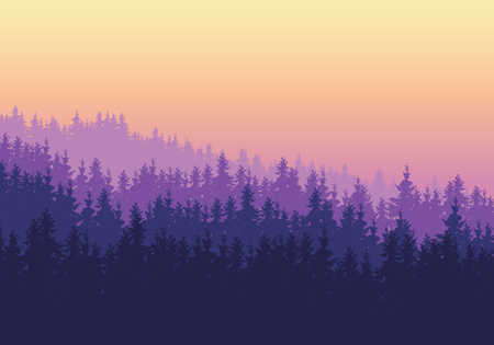 Coniferous forest with several layers under a purple yellow sky at dawn or sunset - vector with space for your text Ilustração