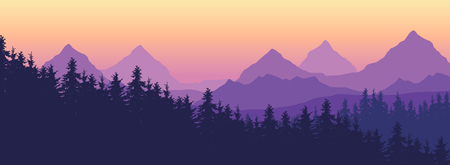 Landscape with high mountains and coniferous forest in multiple layers, under yellow purple sky and space for text - vector  イラスト・ベクター素材