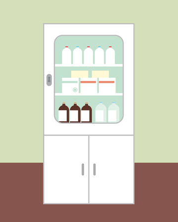 White cabinet for medicines intended for first aid with the door closed, with glasses, boxes and bottles on brown floor green wall on background - vector