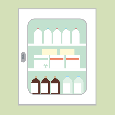 White cabinet for medicines intended for first aid with the door closed, with glasses, boxes and bottles green wall on background - vector