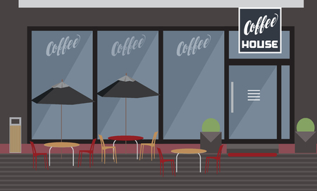 Exterior of coffee house with garden restaurant, tables and chairs under umbrellas, with window and door - vector