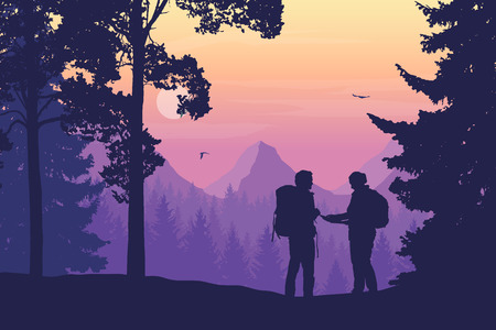 Two tourists, man and woman with backpacks together standing in the woods looking for a path on the map, mountain landscape with flying birds, purple sky, rising sun and clouds - vector