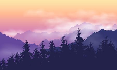Górski krajobraz z lasem, chmurami i mgłą między wzgórzami, pod fioletowym żółtym niebem o świcie - wektor
