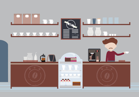 Man  with a mustache, owner or bartender standing in cafeteria behind bar and preparing coffee with glasses, cakes and muffins - vector