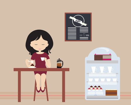 Young woman sitting in a chair behind a table in a cafe or pastry shop, drinking a white coffee cup - flat design vector