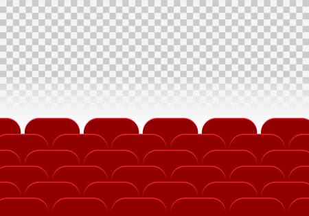 Empty cinema hall or theater and row of red auditorium seats on a transparent background - vector flat design with space for your text Vektorové ilustrace
