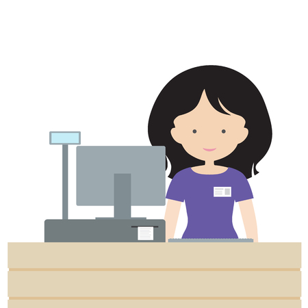 Young woman standing in store saleswoman behind the counter, selling and smiling at customers - vector flat design
