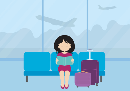 Flat design illustration of a young woman with a suitcase and luggage sitting on a seat in the airport lobby, reading a book and waiting for an airplane. Business trip or holiday travel. Vector Illustration