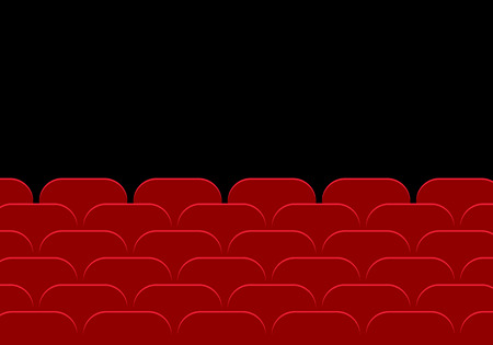 Empty cinema hall or theater and row of red auditorium seats on a black background - vector flat design with space for your text