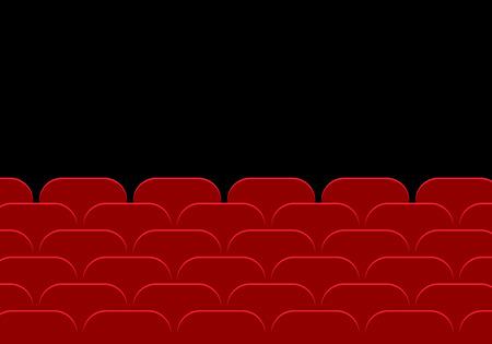 Lege bioscoopzaal of theater en rij van rode auditoriumstoelen op een zwarte achtergrond - vector plat ontwerp met ruimte voor uw tekst