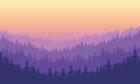 Illustration vectorielle forêt de conifères dense sur une colline sous un ciel du matin ou du soir avec aube pourpre - avec l'effet de plusieurs couches et de l'espace pour le texte