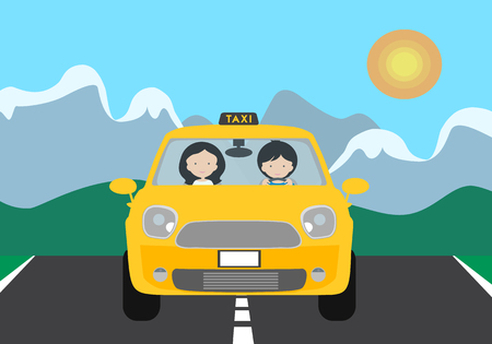 A young driver man driving a yellow car with a passenger and a TAXI sign. Gray asphalt road with white stripes and green lawn, with landscape mountains in the background under blue sky and space for text. Vector Standard-Bild - 111485649