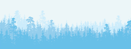 Wide illustration of a coniferous forest in winter weather, more layers and space for text - vector Stok Fotoğraf - 110136355