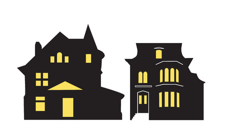 Satz Schwarzweiss-Tapete lokalisiert auf weißem Hintergrund. Geeignet für Halloween-Karte - Vektor
