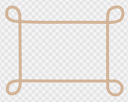 Frame of natural string or rope with loops in corners and space for text - vector on transparent background Vettoriali