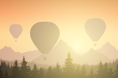 Vector illustration of three hot air balloons in forest and mountain peaks, under an orange sky with rising sun and sunshine
