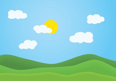 Ilustración de diseño plano del paisaje de montaña de verano con colina cubierta de hierba verde bajo un cielo azul claro con nubes blancas y sol brillante - vector