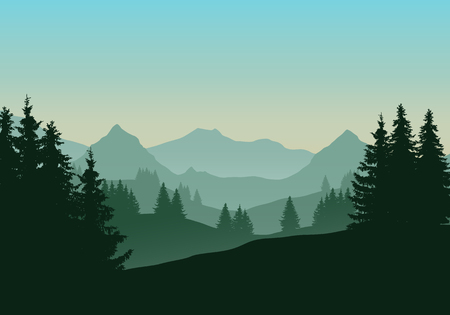 Realistic illustration of mountain landscape with coniferous forest and trees, under green blue sky with dawn - vector