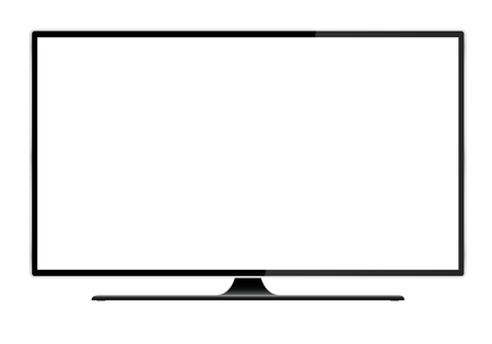 Realistic illustration of black TV with stand and blank white isolated screen with space for your text or image - vector