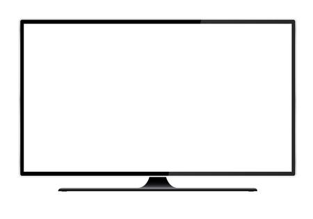 Realistische Darstellung eines schwarzen Fernsehers mit Ständer und leerem weißem isoliertem Bildschirm mit Platz für Ihren Text oder Ihr Bild - Vektor