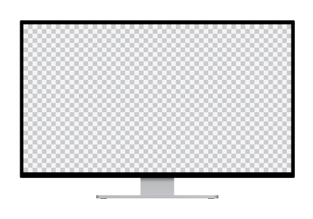 Realistic illustration of black computer monitor with silver stand and blank transparent isolated screen with space for your text or image - isolated vector on white background Banque d'images - 127725449