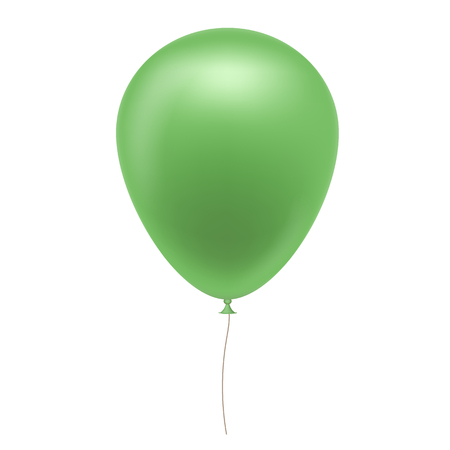 Realistic illustration of green inflatable balloon with brown string, isolated on white background - vector Banque d'images - 127719276