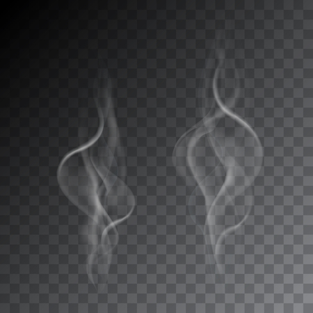 Set of realistic illustrations of smoke from cigarettes or hot drink, isolated on a transparent background - vector Banque d'images - 127708513