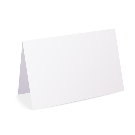 Realistic blank folded paper card isolated on white background - vector Ilustração