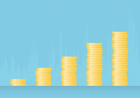 Illustration of a growing graph of gold coins on a blue green background - vector Banque d'images - 127520868
