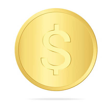 Realistic illustration of a gold coin with a dollar sign, isolated on white background - vector Banque d'images - 127520869