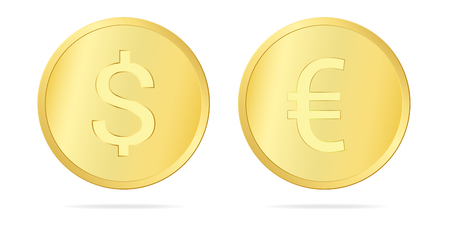 Set realistic illustration of a gold coin with a dollar and euro sign, isolated on white background - vector Banque d'images - 127434756