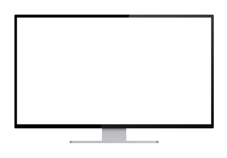 Realistic illustration of black computer monitor with silver stand and blank white isolated screen with space for your text or image - isolated vector on white background Banque d'images - 127324890