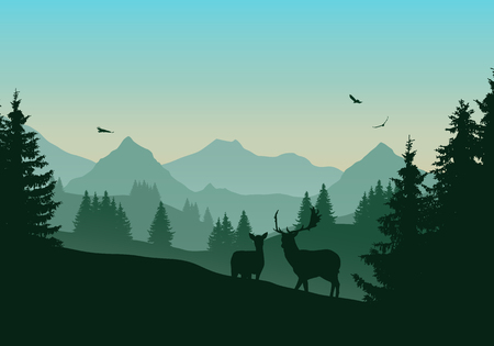Realistic illustration of mountain landscape with green coniferous forest, two deer and three flying birds in the sky with dawn - vector