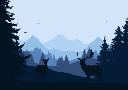 Realistic illustration of mountain landscape with forest and two deer, under blue sky with flying birds - vector Ilustração