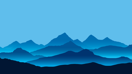 Realistic illustration of mountain landscape with fog under blue sky - vector Banque d'images - 127263523