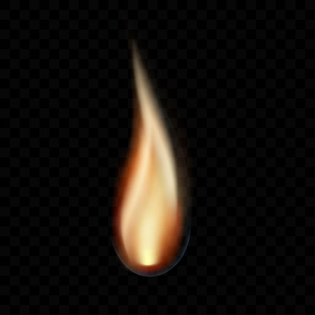 Realistic illustration of a candle flame, isolated on a transparent background - vector Banque d'images - 127263525