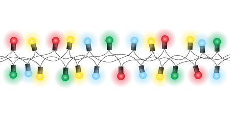 Illustration of a chain of christmas colored lights, yellow, green and red and blue, isolated on a white background - vector Banque d'images - 127215671