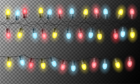 Realistic illustration of colored christmas lights yellow, red and blue colors, isolated on transparent background - vector Banque d'images - 127215672