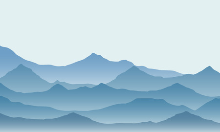 Realistic illustration of mountain landscape with fog under green sky - vector Banque d'images - 127164617