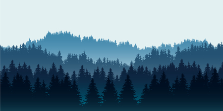 Realistic illustration of coniferous forest on hills in multiple layers, under blue sky and space for text - vector Banque d'images - 127164619