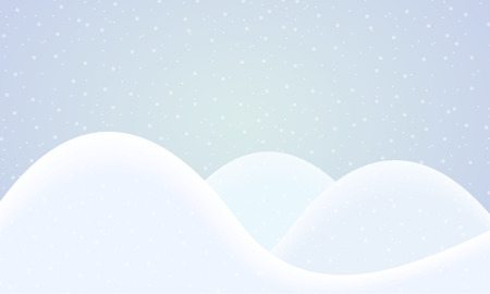 Cartoon illustration of winter landscape with three hills under a sky with falling snow - vector Banque d'images - 127069671