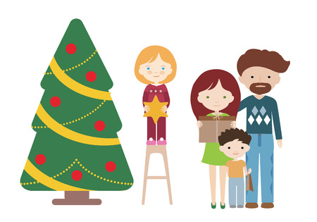 Cartoon flat design illustration of a family at a Christmas tree with gifts. Father with mother and with children - vector Banque d'images - 126954047