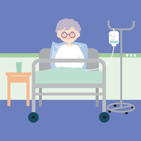 Anciana acostada en la cama en el hospital y con una inyección intravenosa o nutrición artificial - vector Ilustración de vector